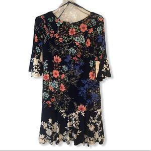 ELIZA J Navy Floral Bell Sleeve Dress 10P Petite